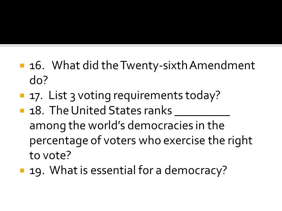 16. What did the Twenty-sixth Amendment do