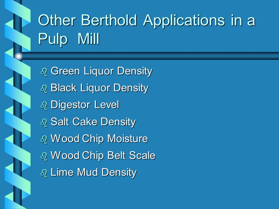 Other Berthold Applications in a Pulp Mill