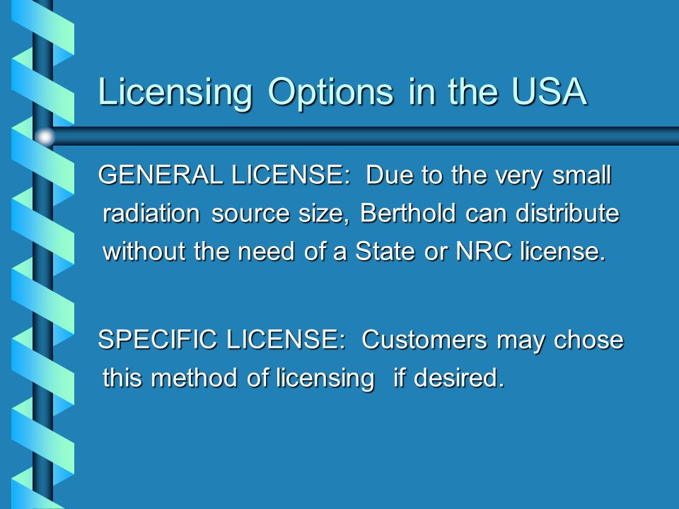 Licensing Options in the USA