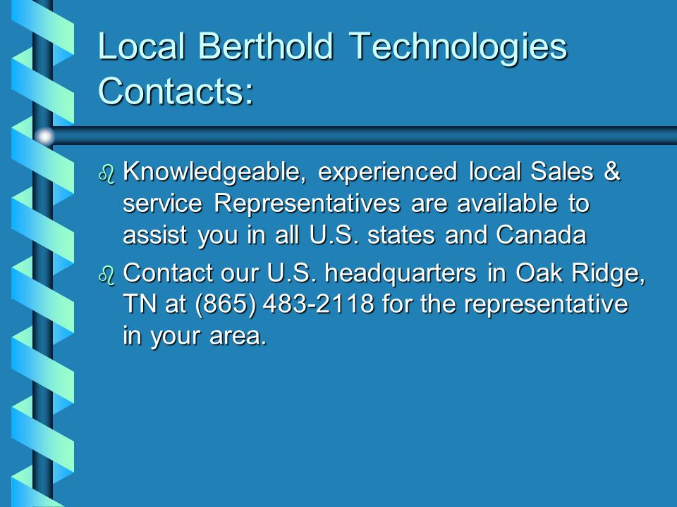 Local Berthold Technologies Contacts: