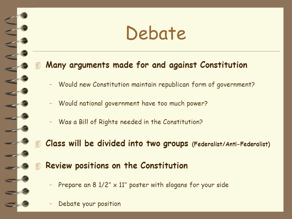 Debate Many arguments made for and against Constitution