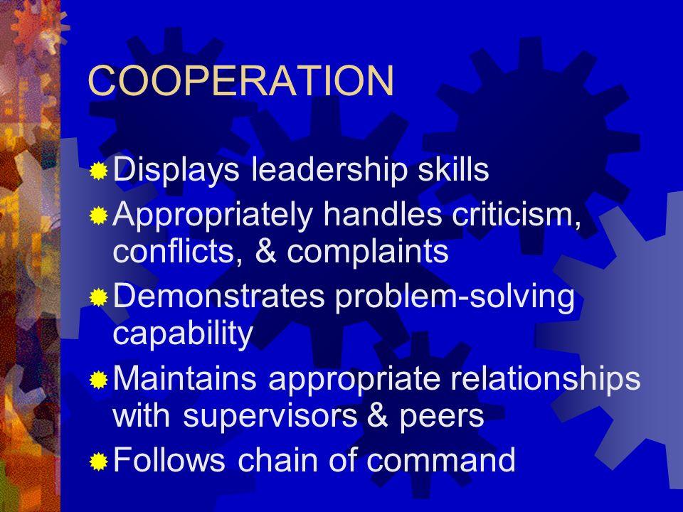 COOPERATION Displays leadership skills