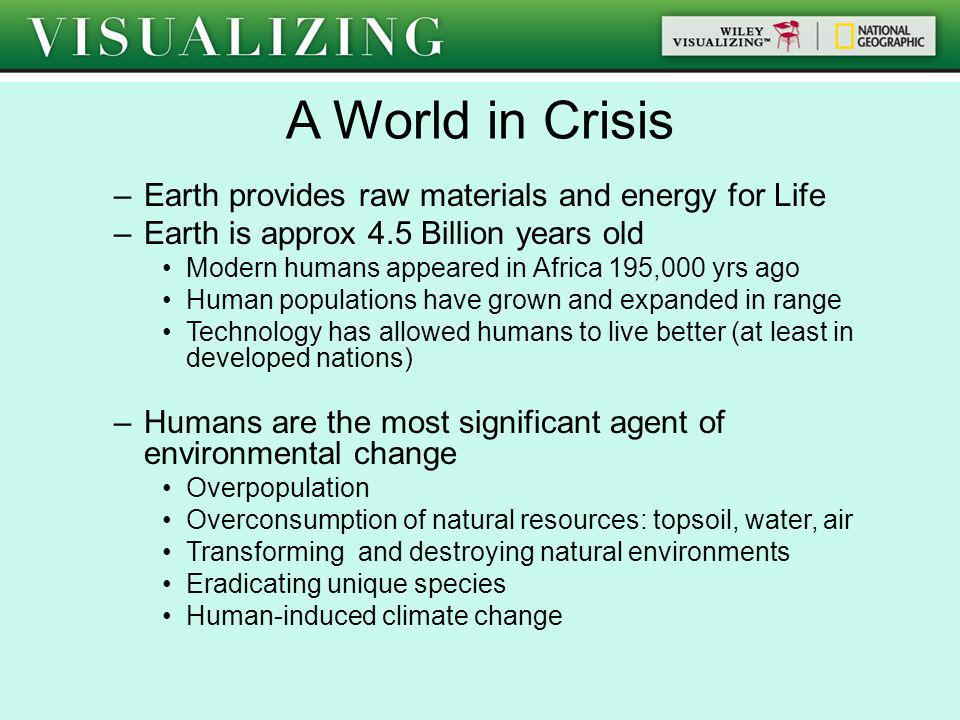 A World in Crisis Earth provides raw materials and energy for Life