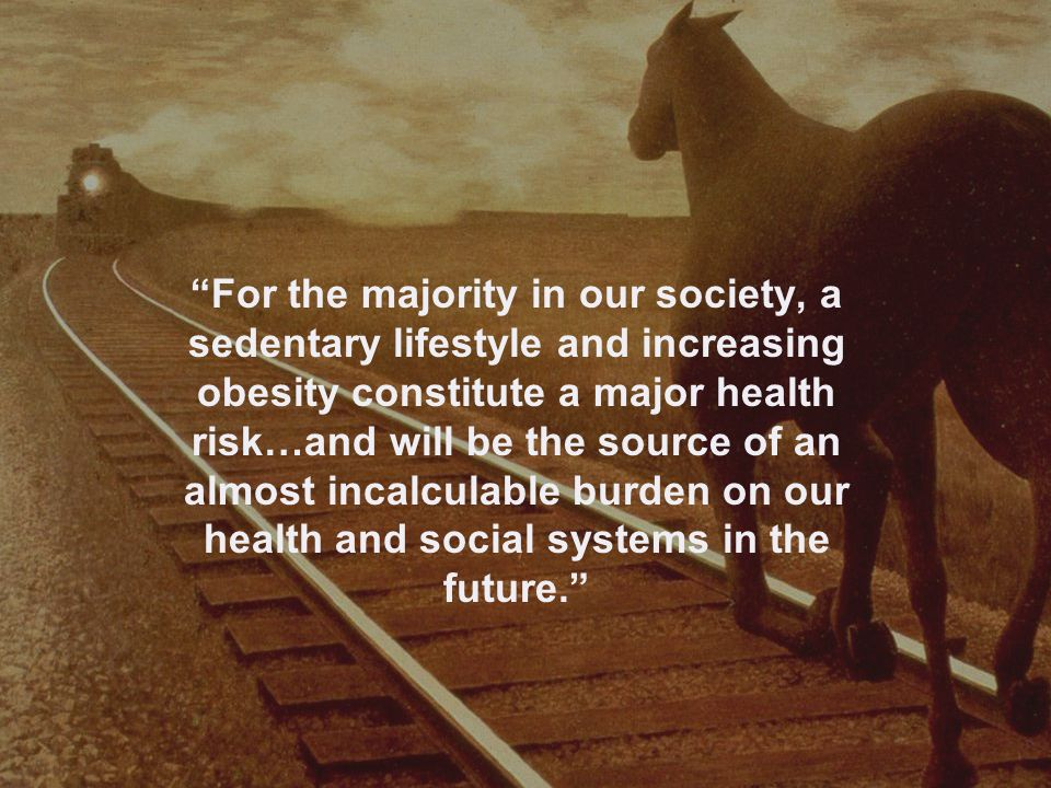 For the majority in our society, a sedentary lifestyle and increasing obesity constitute a major health risk…and will be the source of an almost incalculable burden on our health and social systems in the future.