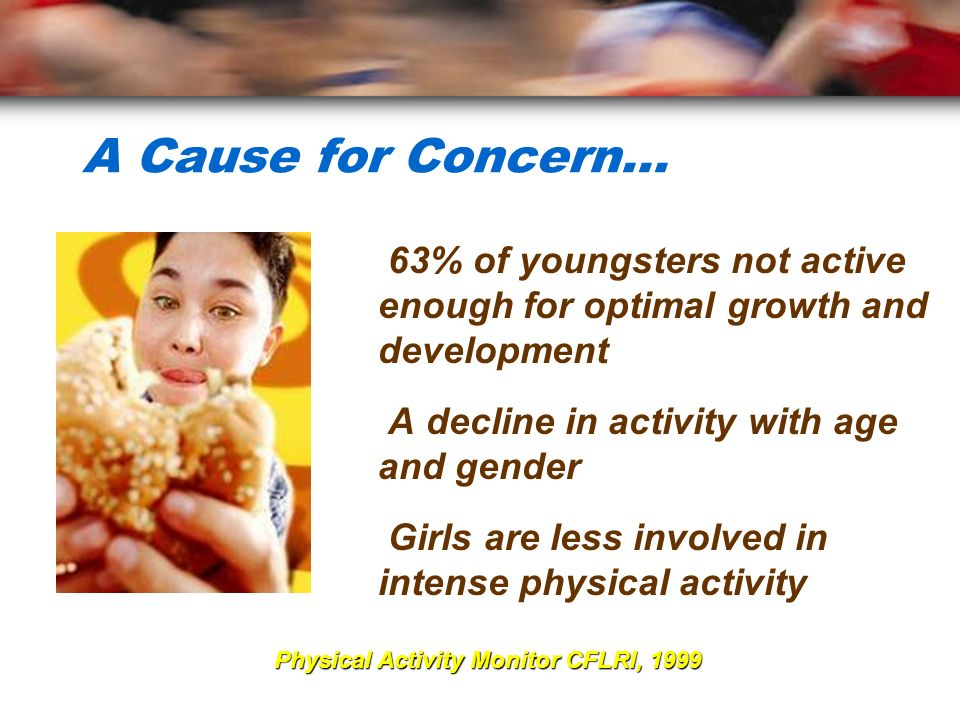 A Cause for Concern... 63% of youngsters not active enough for optimal growth and development. A decline in activity with age and gender.