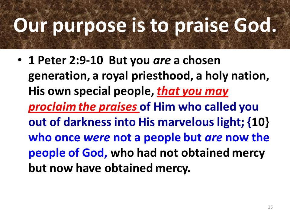 Our purpose is to praise God.