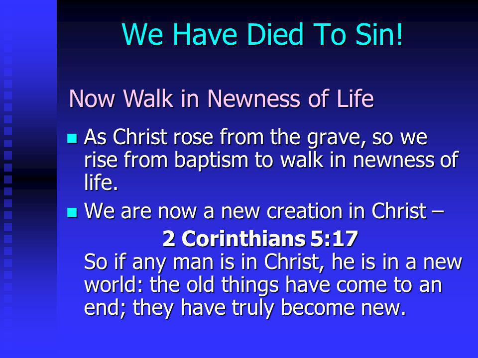 We Have Died To Sin! Now Walk in Newness of Life