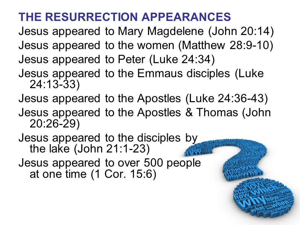 THE RESURRECTION APPEARANCES