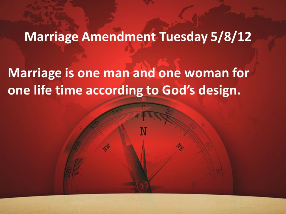 Marriage Amendment Tuesday 5/8/12