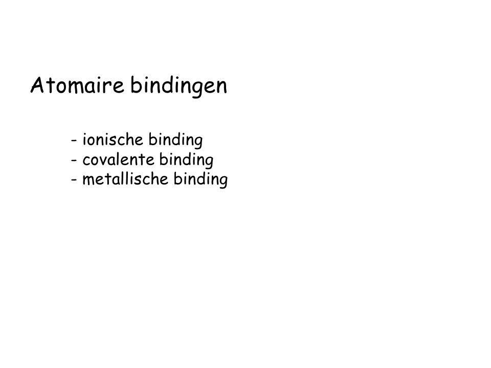 Atomaire bindingen - ionische binding - covalente binding