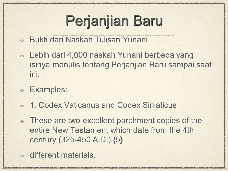 Perjanjian Baru Bukti dari Naskah Tulisan Yunani