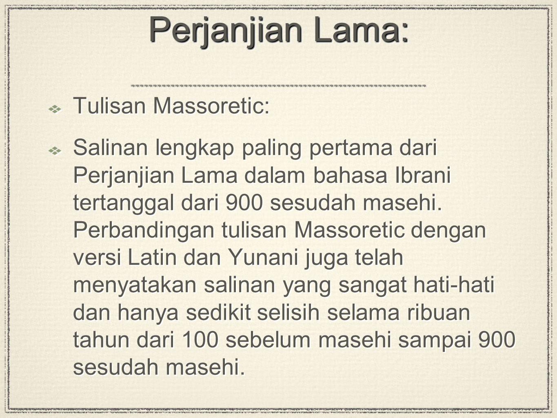 Perjanjian Lama: Tulisan Massoretic:
