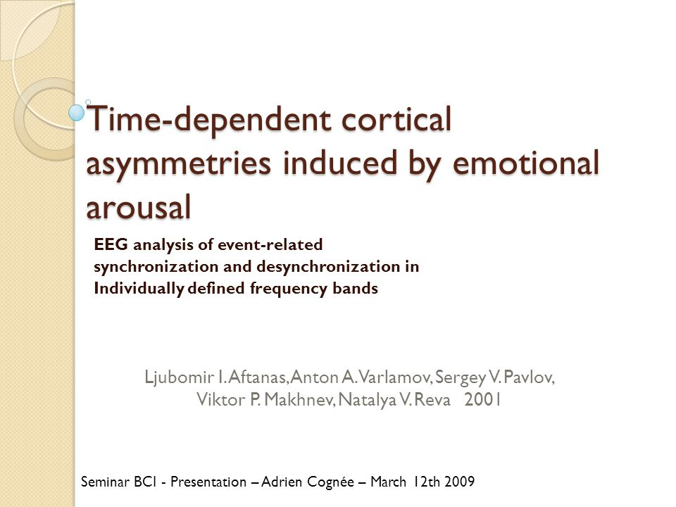 Time-dependent cortical asymmetries induced by emotional arousal