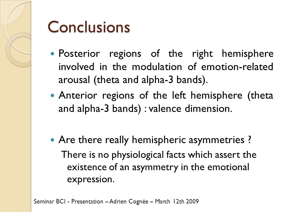 Conclusions Posterior regions of the right hemisphere involved in the modulation of emotion-related arousal (theta and alpha-3 bands).