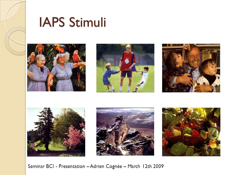 IAPS Stimuli Seminar BCI - Presentation – Adrien Cognée – March 12th 2009