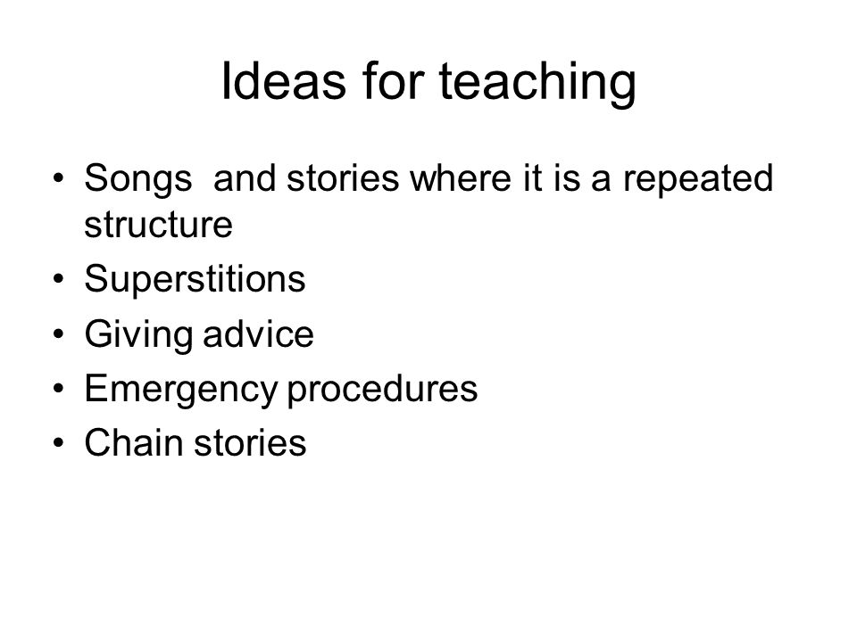 Ideas for teaching Songs and stories where it is a repeated structure