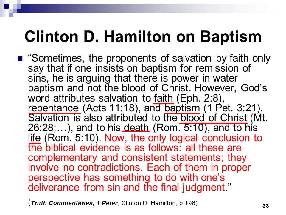 Clinton D. Hamilton on Baptism
