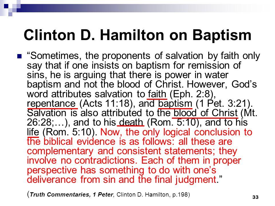 Clinton D. Hamilton on Baptism