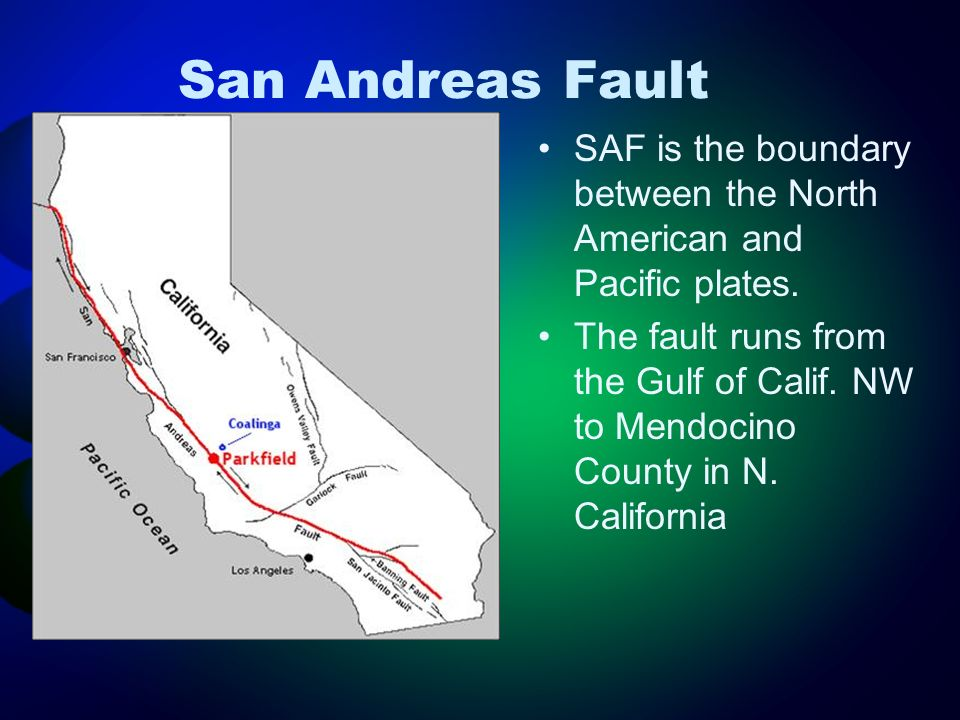 San Andreas Fault SAF is the boundary between the North American and Pacific plates.