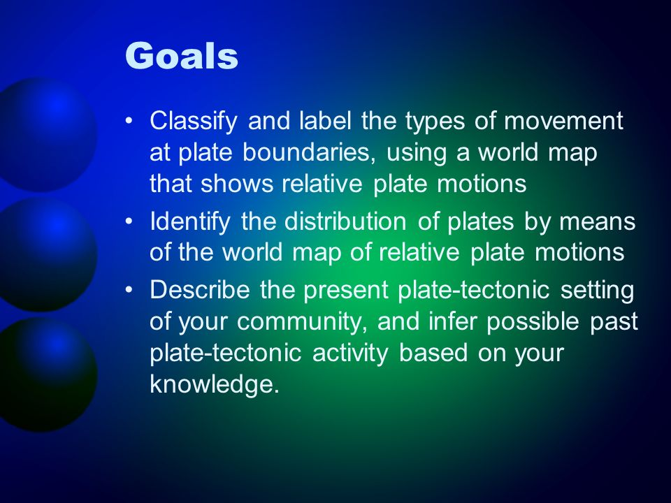 Goals Classify and label the types of movement at plate boundaries, using a world map that shows relative plate motions.