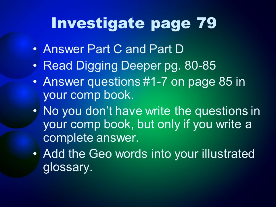 Investigate page 79 Answer Part C and Part D