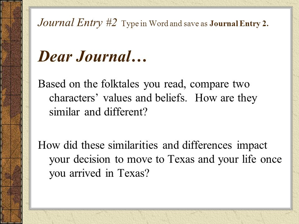 Journal Entry #2 Type in Word and save as Journal Entry 2
