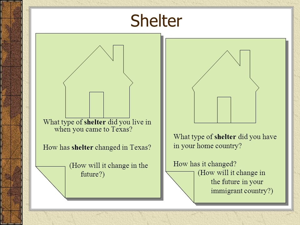 Shelter What type of shelter did you have in your home country
