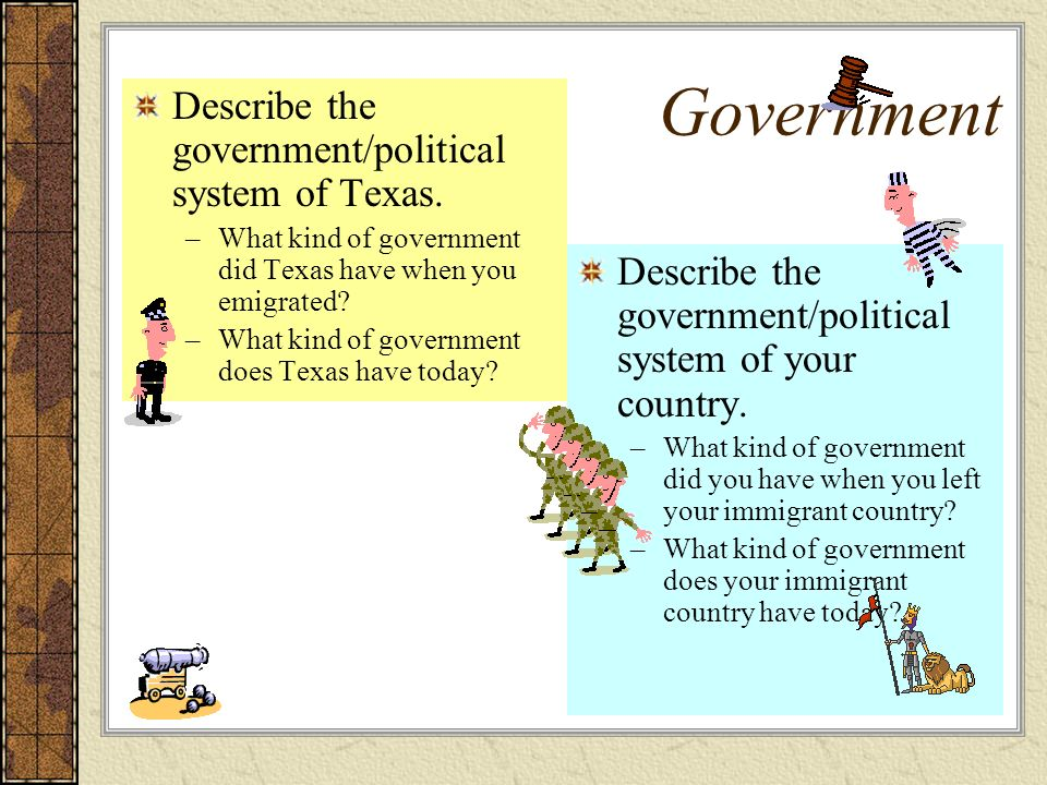 Government Describe the government/political system of Texas.