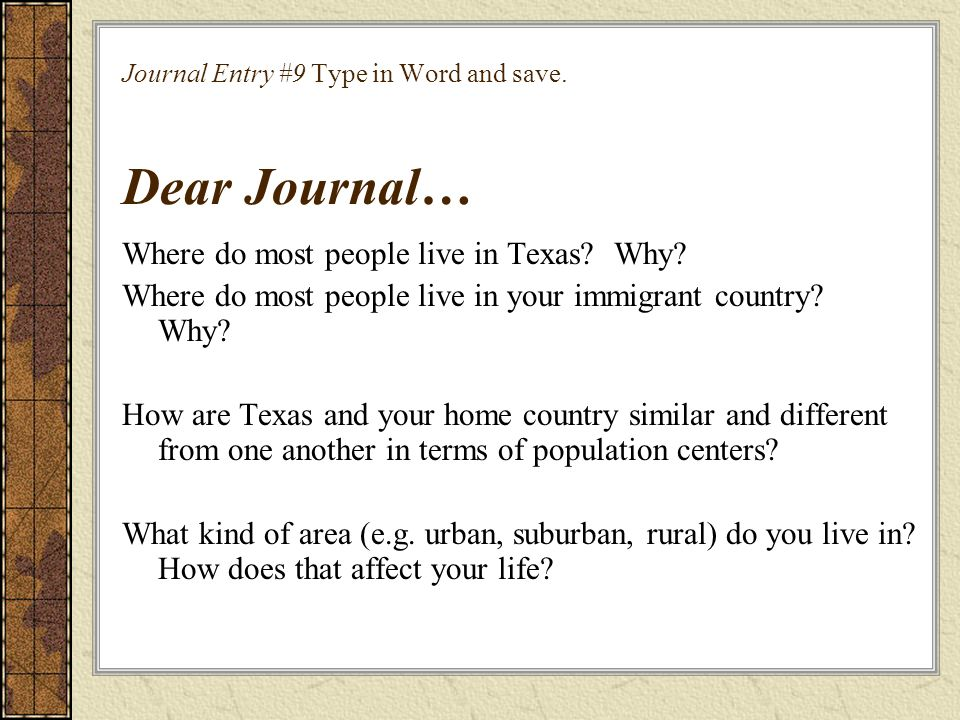 Journal Entry #9 Type in Word and save. Dear Journal…