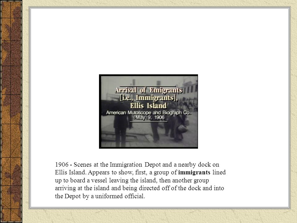 1906 - Scenes at the Immigration Depot and a nearby dock on Ellis Island.