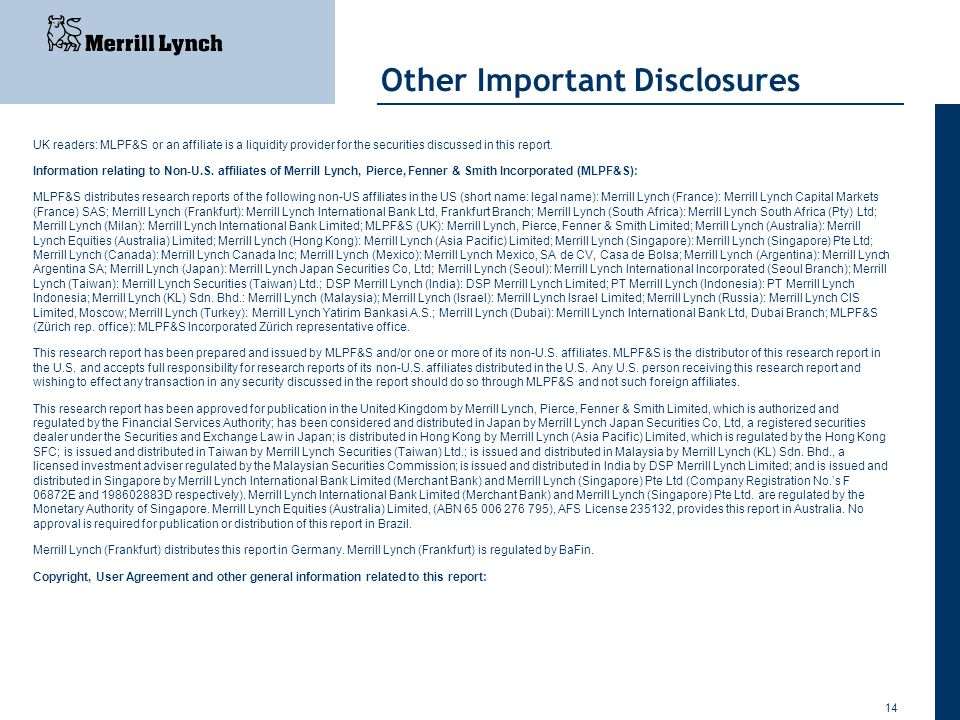 Other Important Disclosures