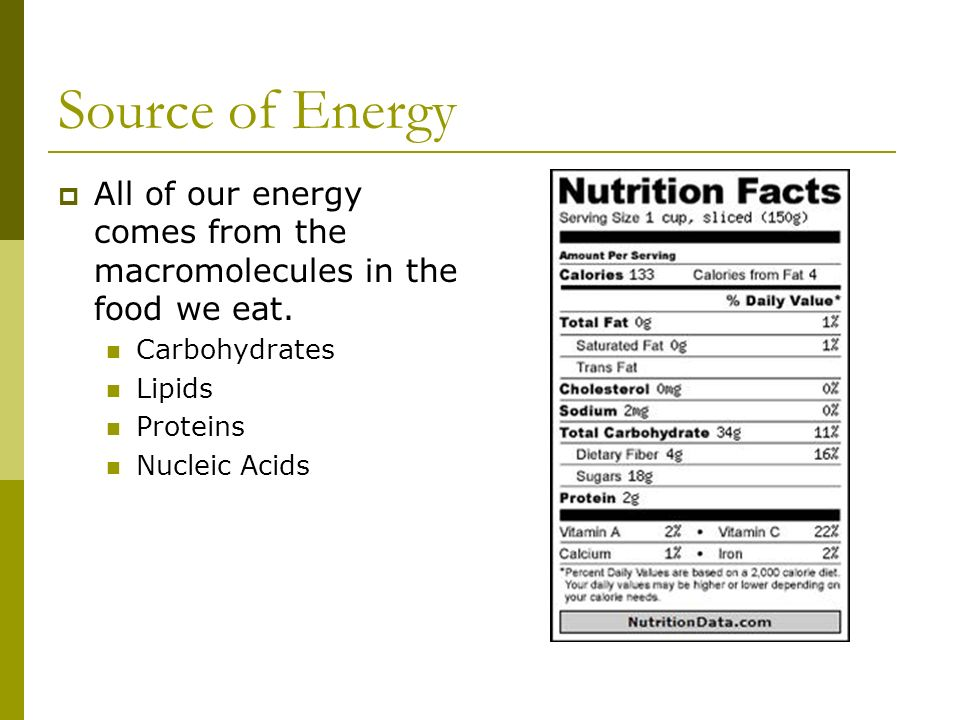 Source of Energy All of our energy comes from the macromolecules in the food we eat. Carbohydrates.