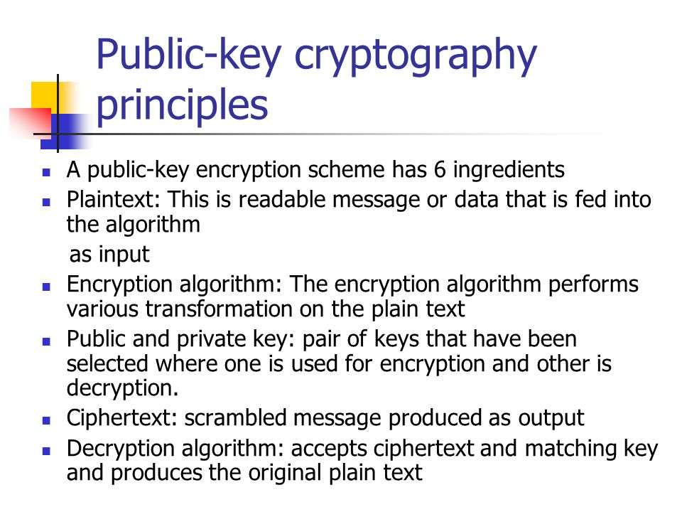 Public-key cryptography principles