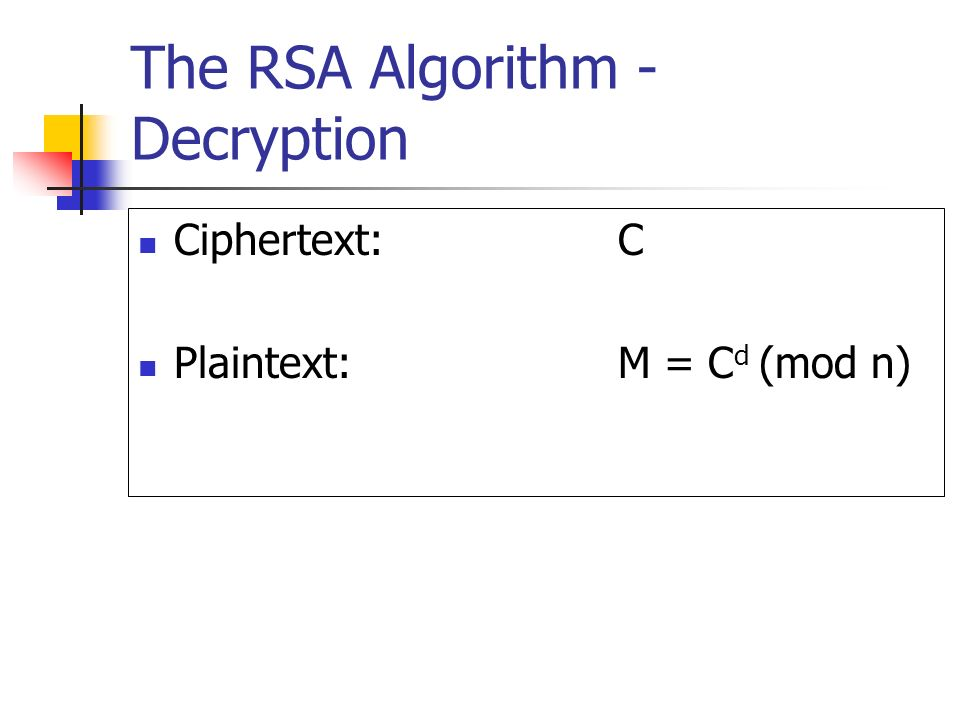 The RSA Algorithm - Decryption
