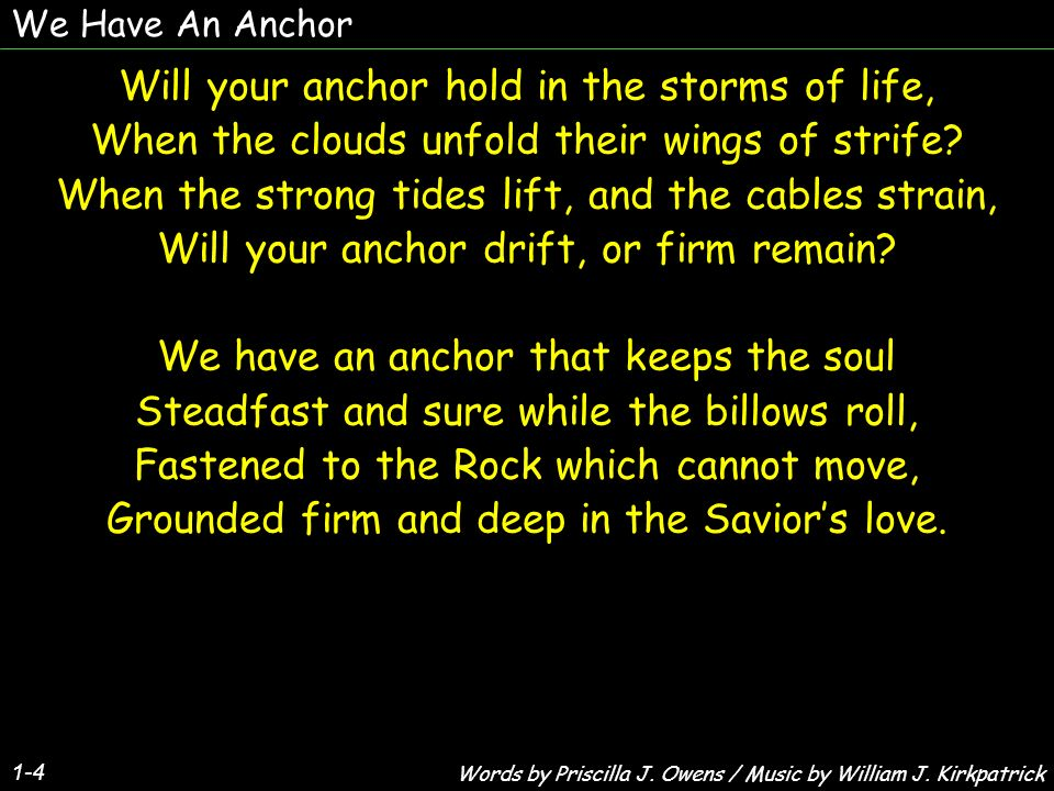 Will your anchor hold in the storms of life,