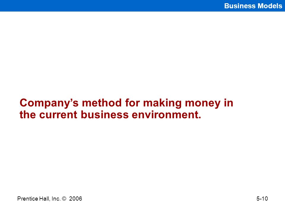 Company's method for making money in the current business environment.