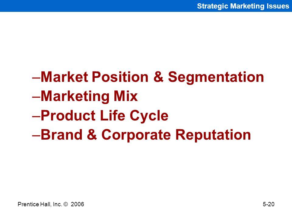 Market Position & Segmentation Marketing Mix Product Life Cycle