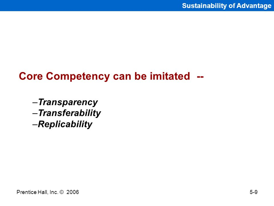 Core Competency can be imitated --
