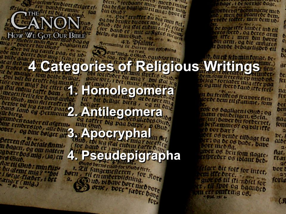4 Categories of Religious Writings
