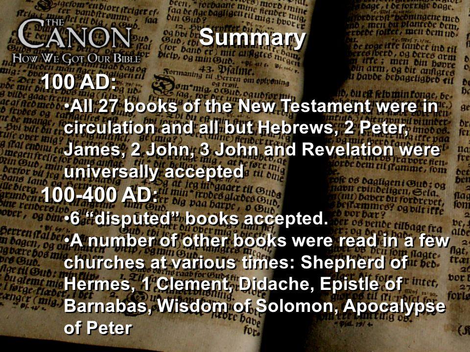 Summary 100 AD: