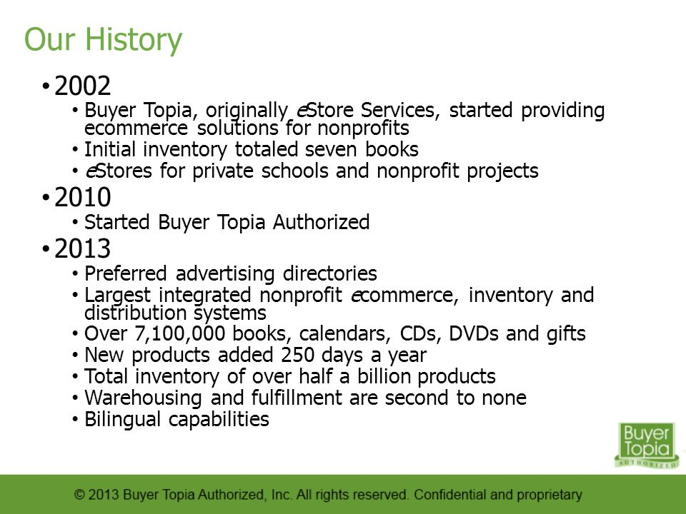Our History 2002. Buyer Topia, originally eStore Services, started providing ecommerce solutions for nonprofits.