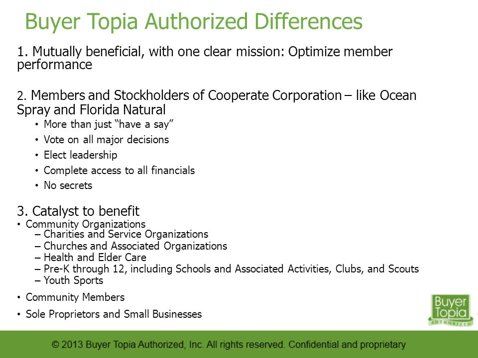 Buyer Topia Authorized Differences