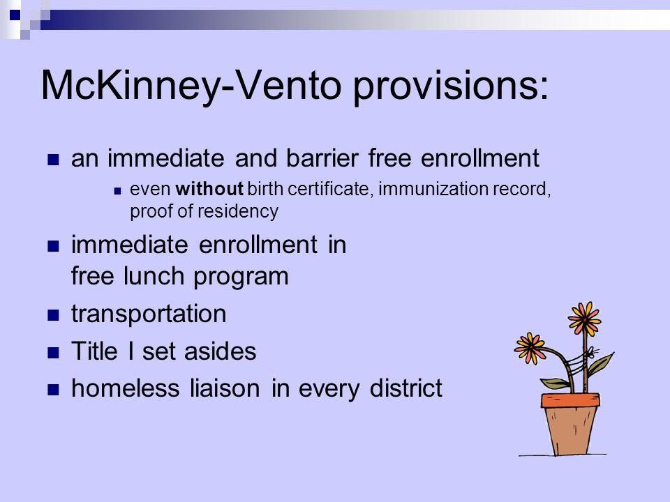 McKinney-Vento provisions: