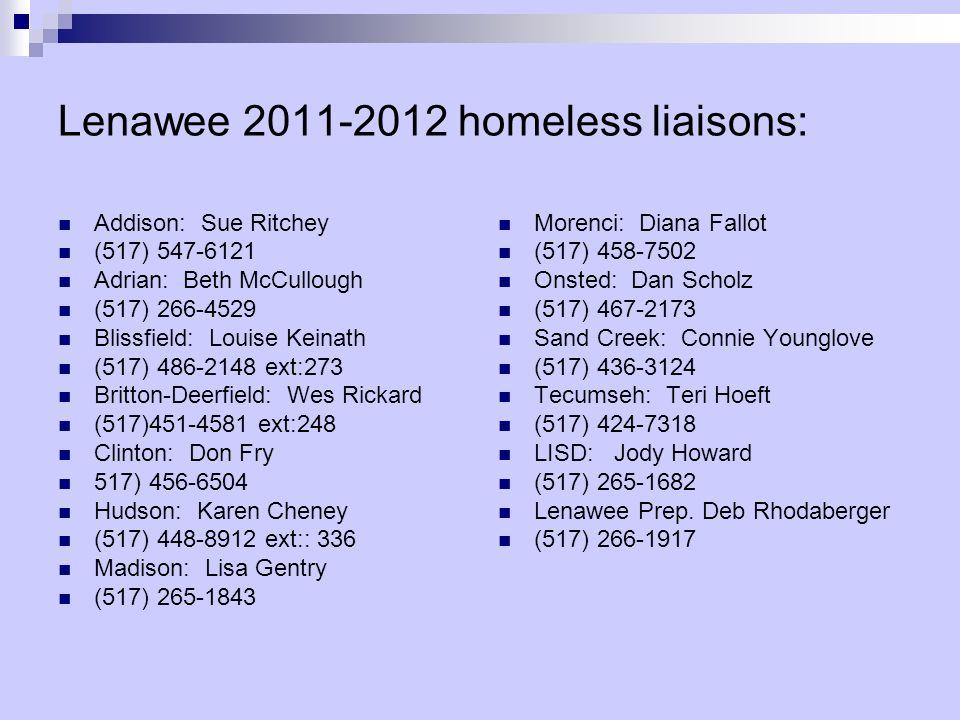Lenawee 2011-2012 homeless liaisons: