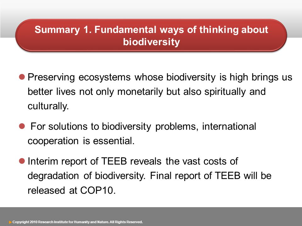 Summary 1. Fundamental ways of thinking about biodiversity