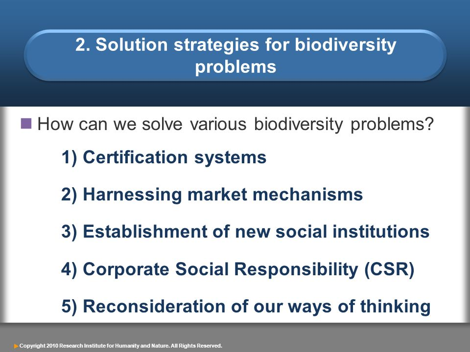 2. Solution strategies for biodiversity problems