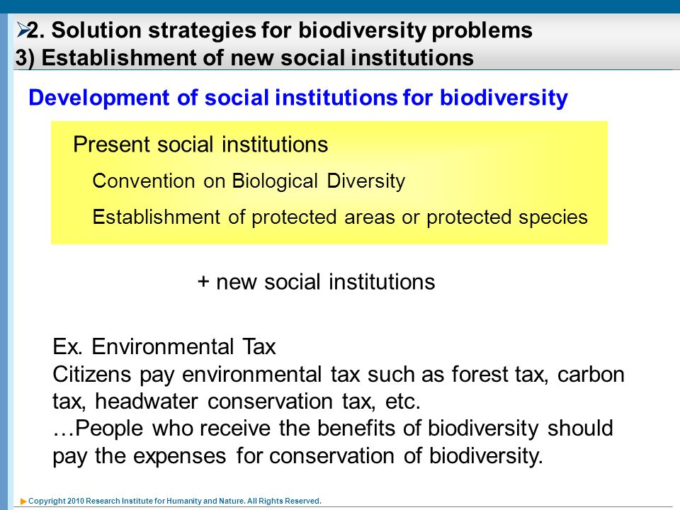 Development of social institutions for biodiversity