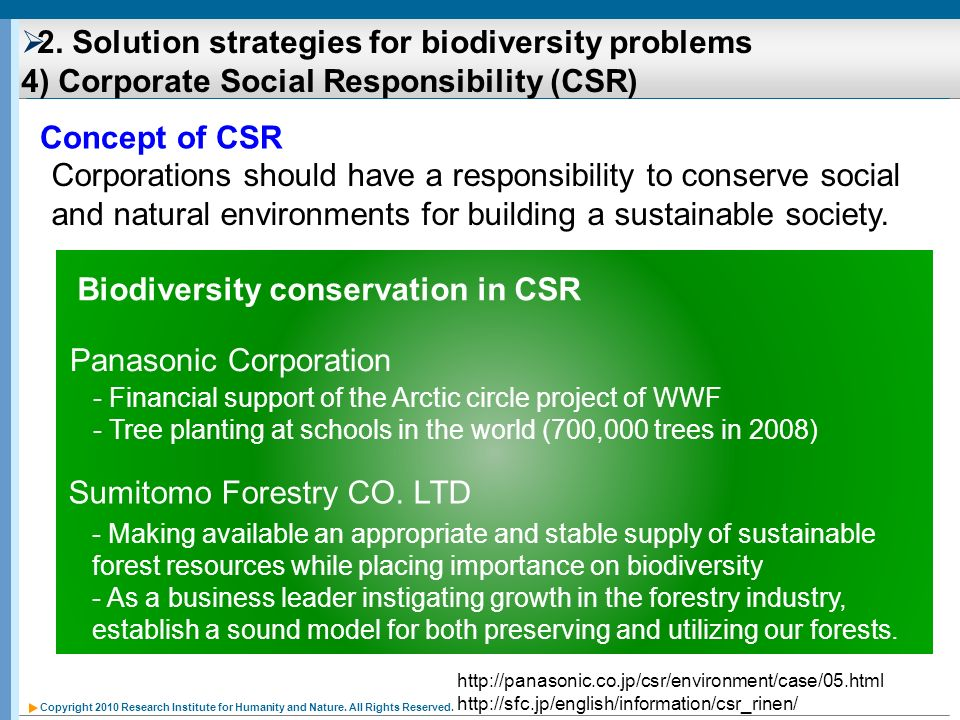 Biodiversity conservation in CSR