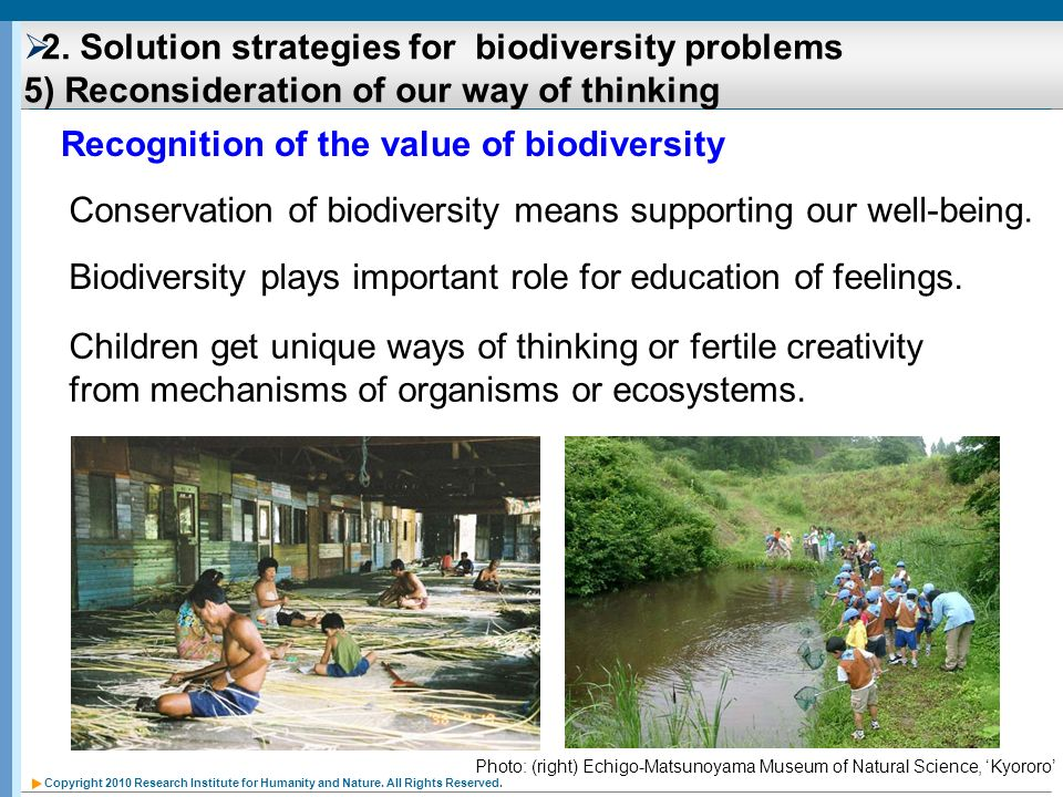 Recognition of the value of biodiversity
