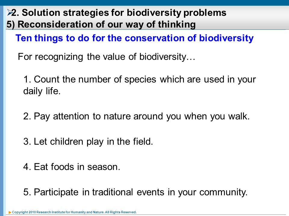 Ten things to do for the conservation of biodiversity